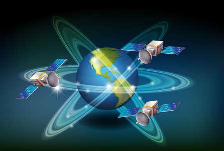 GPS system with satellites around the earth illustration Illustration