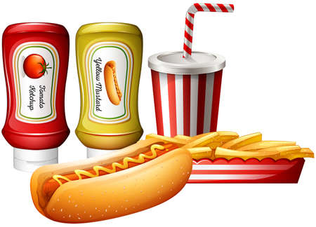 softdrink: Hotdog and fries with two kind of sauces illustration Illustration