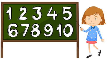 six point: Little girl pointing at the numbers on board illustration