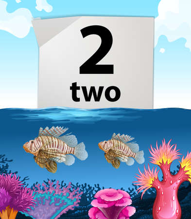 two animals: Number two and two fish under the sea illustration