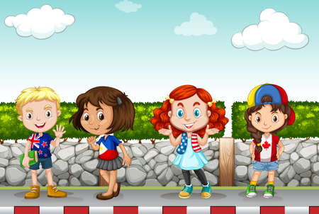 sidewalk: Children standing along the sidewalk illustration