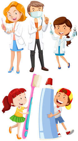 medical student: Dentists and children with toothbrush illustration