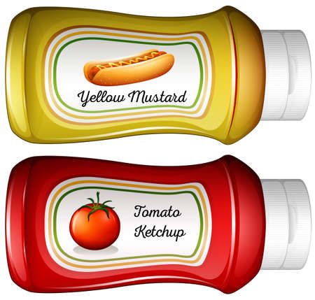 mustard: Bottle of mustard and ketchup illustration Illustration
