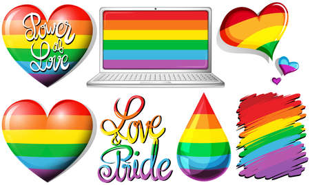 gay pride: Love and pride with hearts and rainbow objects illustration