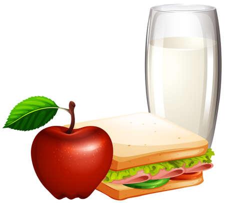 comidas saludables: juego de desayuno con bocadillos y ilustración de la leche