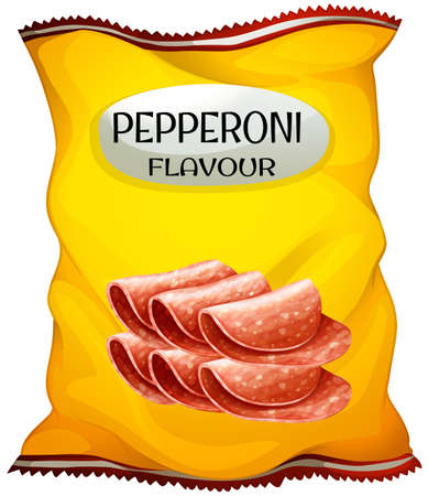 crisp: Snack with pepperoni flavor illustration Illustration