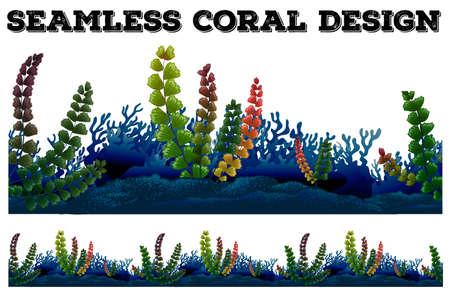 algas marinas: De fondo sin fisuras con el coral y algas marinas ilustración