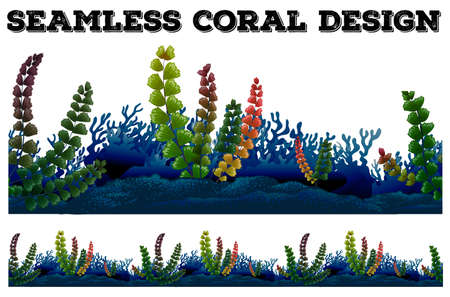 ocean plants: Seamless background with coral and seaweeds illustration Illustration