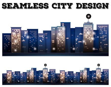city light: Seamless city buildings with light on illustration