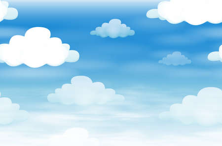 Seamless background with clouds in the sky illustration