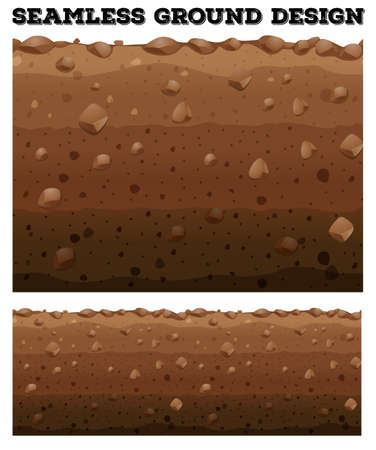 rock layer: Seamless underground with different layers illustration
