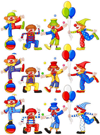 clowning: Clown doing different actions illustration Illustration