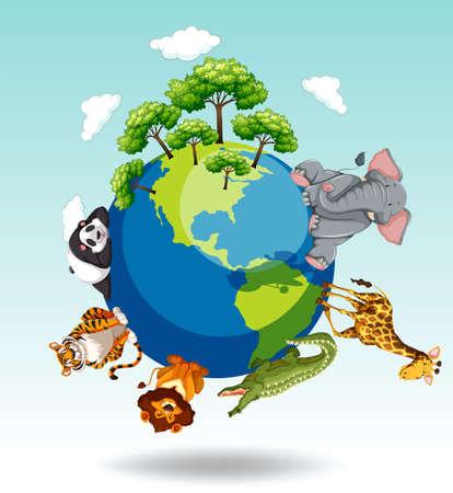Gli animali selvatici in tutto il mondo illustrazione