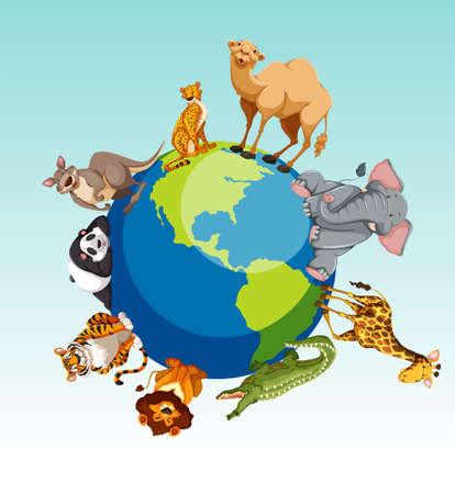 forest conservation: Wild animals around the earth illustration