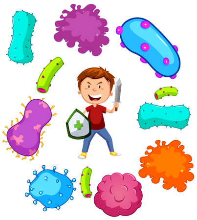 Boy with weapon fighting germs illustration Stock Illustratie