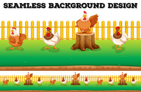 Seamless background with chickens on the farm illustration Illustration