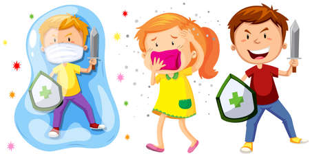 Children with shield and sword fighting germs illustration Illustration
