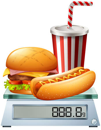 grams: Junkfood on the scale illustration