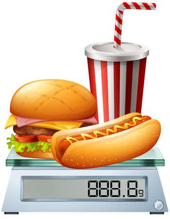 junkfood: Junkfood on the scale illustration