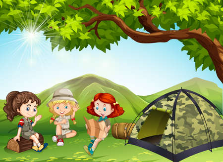 three girls: Three girls camping out in the field illustration Illustration
