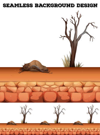 dry land: Seamless background with desert and tree illustration Illustration