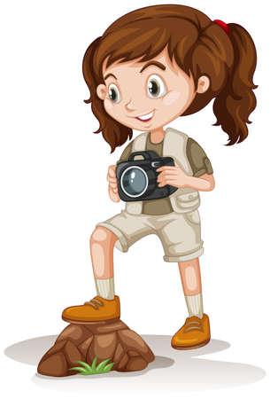 Little girl holding a camera illustration