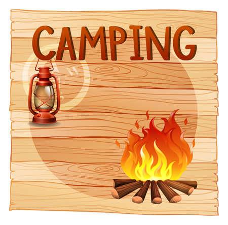 campamento: Banner de diseño con ilustración del tema de acampar