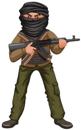Terrorist met masker en kanonillustratie