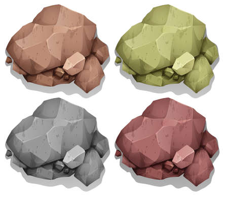 rough: Different color of natural rocks illustration Illustration