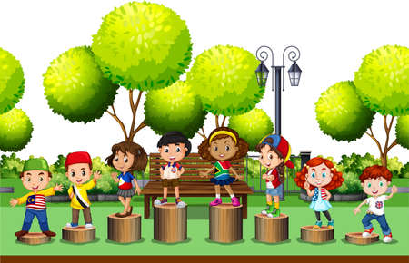 cartoon kids: Children standing on log in the park illustration
