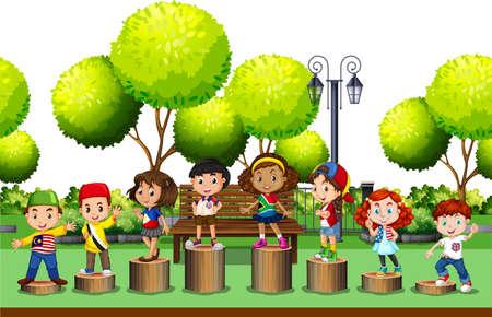 Niños que se colocan en el registro en la ilustración parque Ilustración de vector