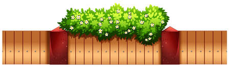 home gardening: Seamless fence design with flowers illustration Illustration