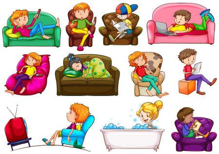 to sit: Gente que hace diferentes actividades ilustración