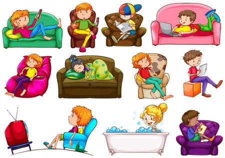 bathing man: People doing different activities illustration