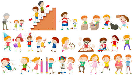 doing: Children doing different activities illustration