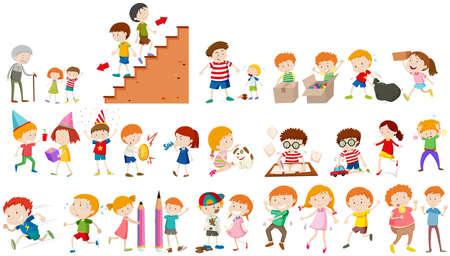 tarea escolar: Niños que hacen diferentes actividades ilustración Vectores