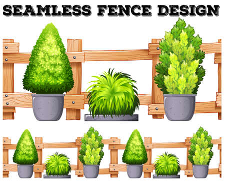 fences: Seamless design with fence and potted plants illustration Illustration