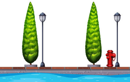 clipart street light: Seamless background with trees and canal illustration