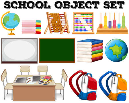 objects: School objects and tools illustration