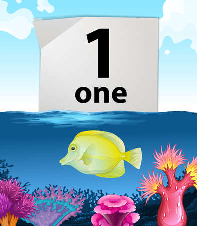 fish illustration: Number one and one fish swimming underwater illustration Illustration