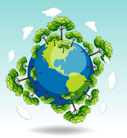 ozone: Forests around the earth illustration