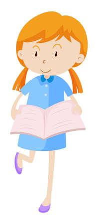 Little girl reading book illustration