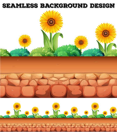 garden flower: Seamless background with sunflowers  illustration Illustration