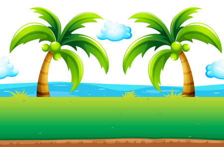 ocean view: Ocean view with coconut trees illustration