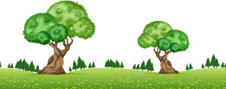 repetition: Nature scene with trees in the park illustration