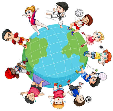 cartoon world: Children doing sports around the world illustration Illustration