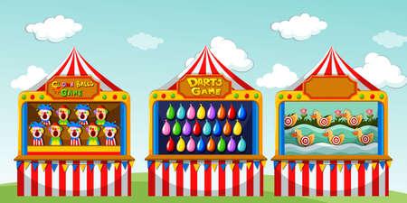 서커스 그림에서 세 게임 boothes