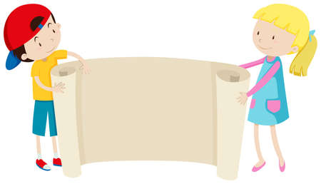 young boy smiling: Boy and girl holding paper illustration