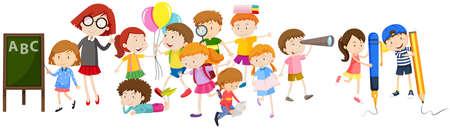 Kinder tun verschiedenen Aktivitäten in der Schule Illustration
