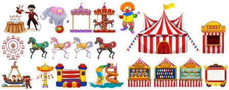 Diferentes objetos de la ilustración de circo
